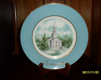 "1974 Avon Christmas Plate """"Country Church"""