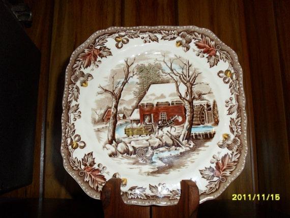 Johnson Bros. Country Life Ironstone Square Plate