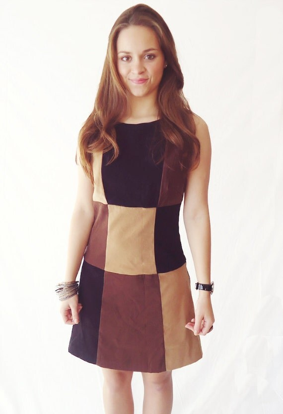 Vintage Black & Brown Color Blocked Dress- Size 4