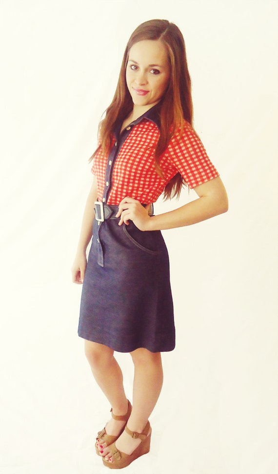 Plaid Cowgirl Denim Dress - 1960s Red and White, Collared Dress -  Size 4