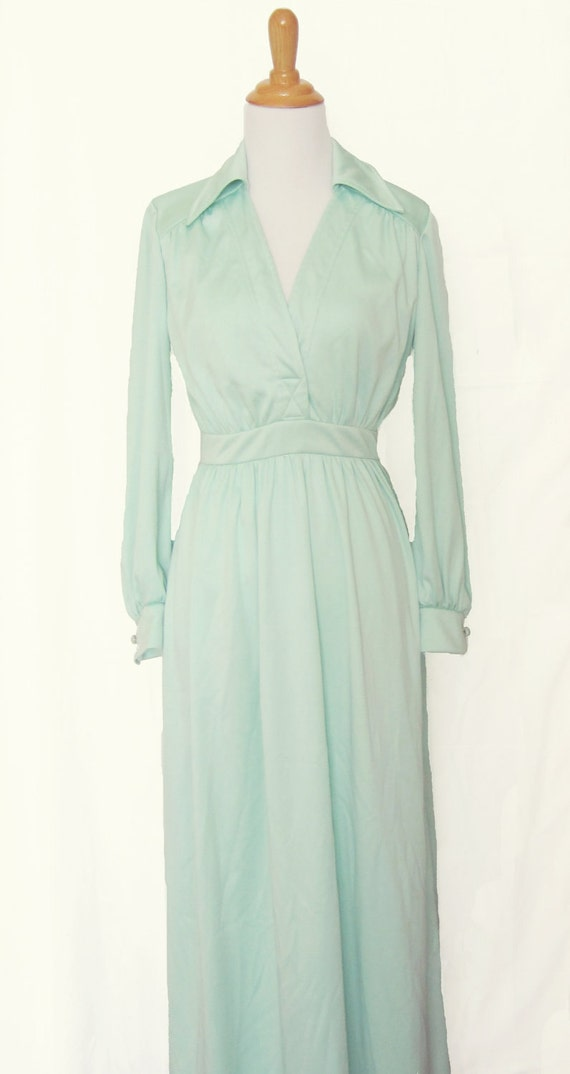 Mint Green Long Sleeve Maxi Dress - Size 2