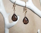 Smoky Quartz Charm Earrings - Smoky Topaz - Bridesmaid Gifts - Gemstone Earrings