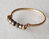 Hammered Gold Filled Pyrite Gemstack Ring - Gemstone Ring - Stacking Ring - Gold Ring - BIRTHSTONE ring
