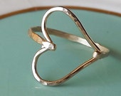 Hammered Sideways Heart Gold Filled Ring - Heart Ring - Gold Ring - Hammered Gold Filled Ring