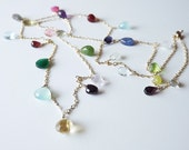 Multi Gemstone Gold Filled Long Necklace - Birthstone Charms - Long birthstone Sterling Necklace