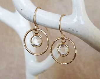 Hammered Swarovski Crystal Gold Filled Hoops - Gold Earrings - Crystal Earrings - Bridal Earrings