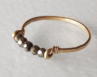 Hammered Gold Filled Pyrite Gemstack Ring - Gemstone Ring - Stacking Ring - Gold Ring - BIRTHSTONE ring