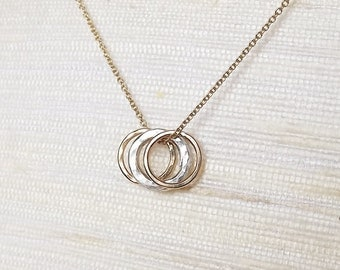 Three Hammered Circles Sterling and Gold Filled Necklace - Eternity Necklace - Everyday Necklace - Mix Metal Necklace
