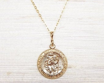Gold Filled St. Christopher Medal Necklace - Gold Necklace - Everyday Necklace - Safe Travel - Saint Jewelry