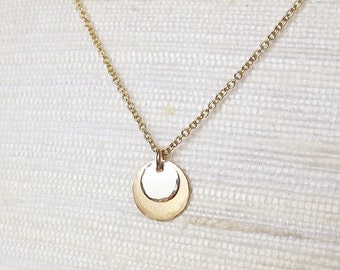 Hammered Sterling and Gold Filled Disc Charm Necklace - Bridesmaid Necklace - Double Disc Necklace - Everyday Necklace - Minimalist