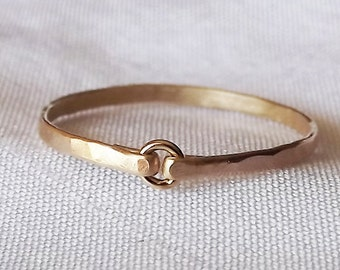 Tiny Circle Hammered Gold Filled Ring - Gold Ring - Stacking Rings - Wedding Band