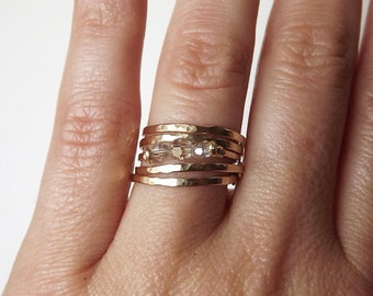 Four Hammered Gold Filled Tiny Circle Rings - Gold Rings - Stacking Rings