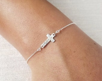 Dainty Hammered Sterling or Gold Filled Cross Bracelet - Sterling ID Bracelet - Personalized Bracelet - Religious Bracelet