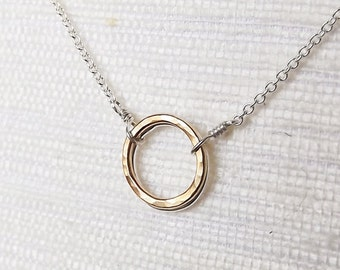 2 Sided Hammered Circle Sterling and Gold Filled Necklace - Eternity Necklace - Everyday Necklace - Mix Metal Necklace