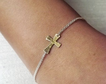 Dainty Hammered Mixed Metal Sterling and Gold Filled Cross Bracelet - Two Toned Religious Bracelet - Sideways Cross