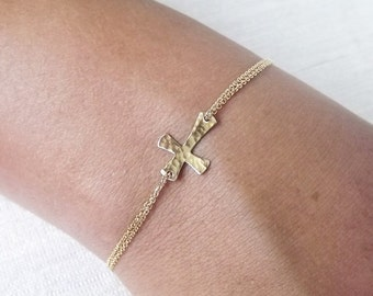 Dainty Hammered Gold Filled or Sterling Cross Bracelet - Religious Bracelet - Sideways Cross