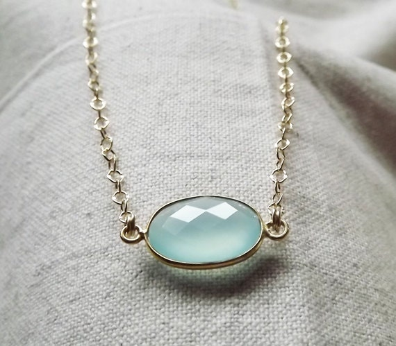 Chalcedony Bezel Set Gemstone Oval Gold Filled or Sterling Necklace