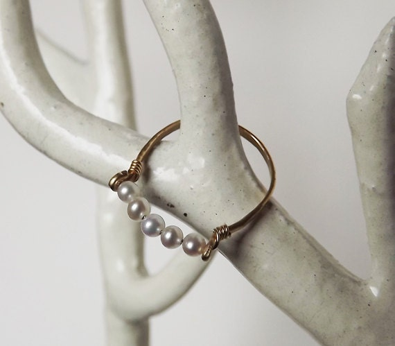 Hammered Gold Filled Freshwater Pearl Gemstack Ring - Pearl Ring - Stacking Rings