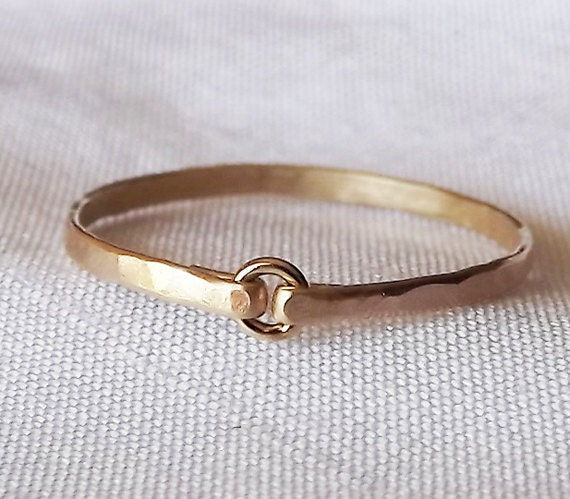 Tiny Circle Hammered Gold Filled Ring - Gold Ring - Stacking Rings
