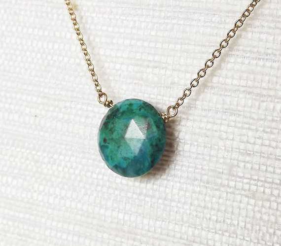 Gold Filled Chrysocolla Charm Necklace - Bridesmaid Necklace - Gemstone Necklace