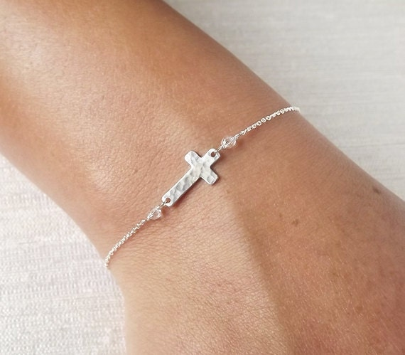 Dainty Hammered Sterling or Gold Filled Cross Bracelet - Sterling ID Bracelet - Personalized Bracelet - Religious Bracelet