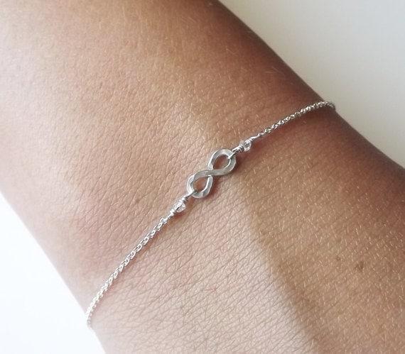 Hammered Sterling Infinity Bracelet - Infinity Bracelet - Everyday Bracelet - Bridesmaid Bracelet