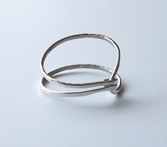 """Hammered Asymmetrical Sterling """"Hug"""" Ring - Silver Ring - Sterling Band - Stacking Rings"""
