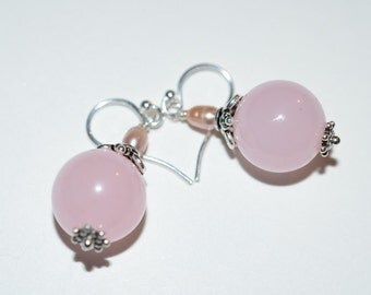 Blush Pink Gemstone Earrings, Rose Quartz Sterling Dangle, Rose Quartz Freshwater Pearls Sterling Silver Drop Earrings