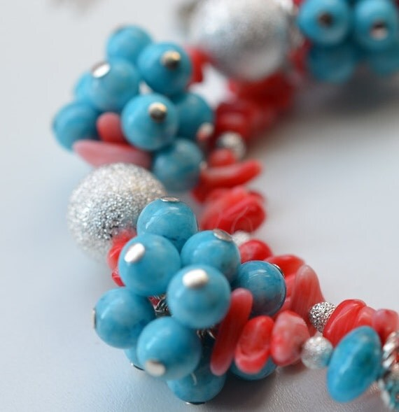 Turquoise and Coral Beaded Bracelet / Necklace - Easy Convertible Cluster Jewelry
