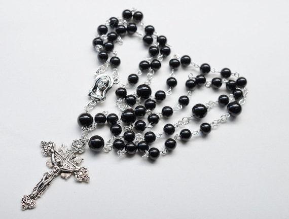 Black Onyx Gemstone Catholic Rosary Necklace /  / Traditional 5 Decade Catholic Rosary