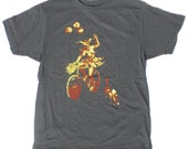 Mens Cat Tee with Bike Riding Clown L