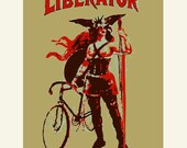 Bike Print, The Liberator and Her Fixed Gear Bike, fine art archival Giclee