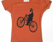 Monkey on Bicycle Woman's T Shirt, in Rust Orange M, by The Cyclery
