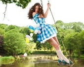 Alice Dress with button belt and full skirt in over sized gingham fabric