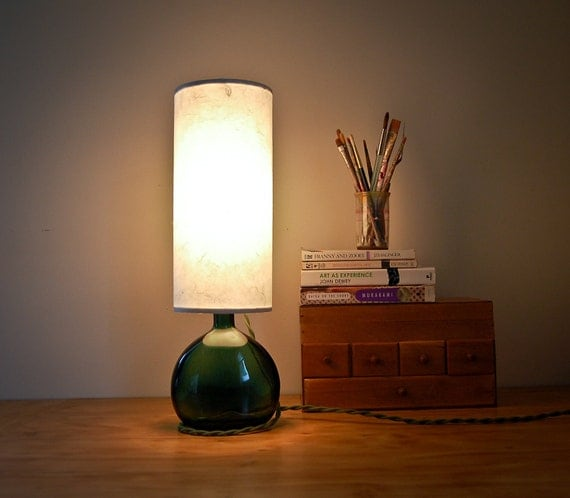 RESERVED for Kate and Daniel - Vintage Green Bottle Lamp with Handmade Paper Lampshade