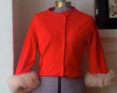 Reserved for Fiona RED HOT Cherry  Cropped Jacket With Removable  Fur Trim Cuffs