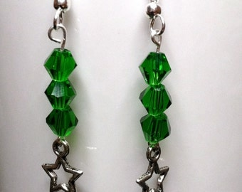 Green Crystal Dangle Earrings w/ Antique Silver Charms