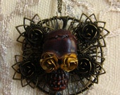Wooden day of the dead skull Necklace