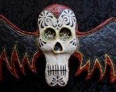 Day of the Dead Winged Skull Calavera Bat Skull Paper Mache Wall Plaque Wall Mask Les Vampires READY TO SHIP
