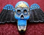 SOLD. Maya.Skull.Winged Skull.Hand Painted Wall Mask.Wall Art