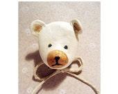 Clay Bear  animal brooch- Air dry clay animal brooch - Ready to ship