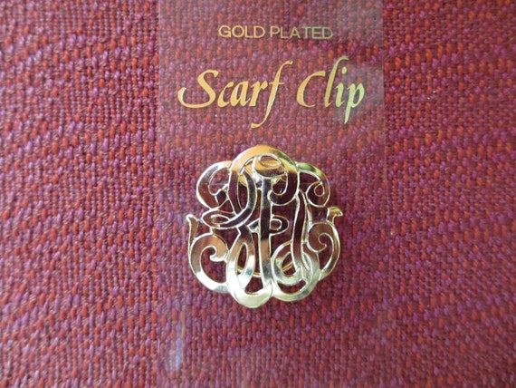 Vintage Gold Plated Open Swirl Scarf Clip With Card