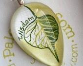 Banyan Leaf Pendant, Hand Painted Necklace, Tear Drop glass, Pipal Tree, Wisdom, Peace, Original Art, Green, Sacred, Hippie Jewelry