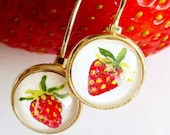 Strawberry Earrings, Hand Painted Jewelry, Glass, Silver, Miniature Painting, Kawaii Food, Red Fruit, Berries, Tiny Round, OOAK