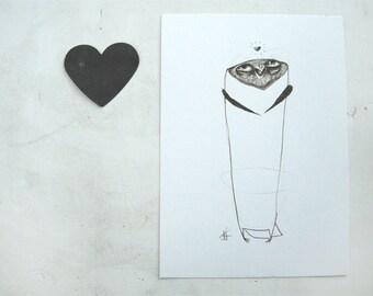 Owl Love Print A5 Sepia