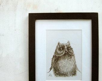 Owl Fluffy Owlet Print A5 Sepia