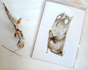 Owl Print Good Listener A5 Sepia