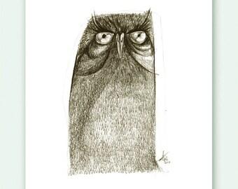 Owl Grumpy Print A5 Sepia from original illustration