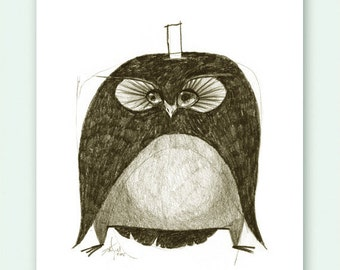 Owl Gangster Print A5 Sepia from original illustration