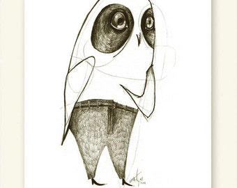 Owl Hoo Me Print A5 Sepia from original illustration